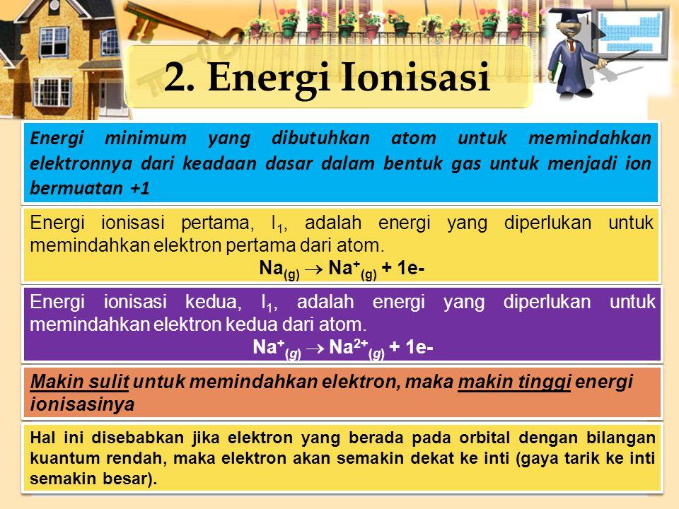 2. Energi Ionisasi Energi minimum yang dibutuhkan atom untuk memindahkan elektronnya dari keadaan dasar dalam bentuk gas untuk menjadi ion bermuatan +