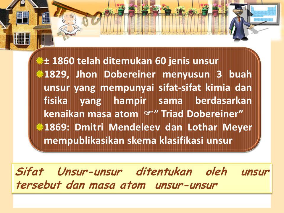 ± 1860 telah ditemukan 60 jenis unsur 1829, Jhon Dobereiner menyusun 3 buah unsur yang mempunyai sifat-sifat kimia dan fisika yang hampir sama berdasa