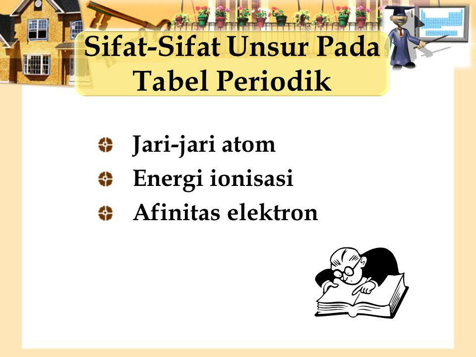 Jari-jari atom Energi ionisasi Afinitas elektron Sifat-Sifat Unsur Pada Tabel Periodik