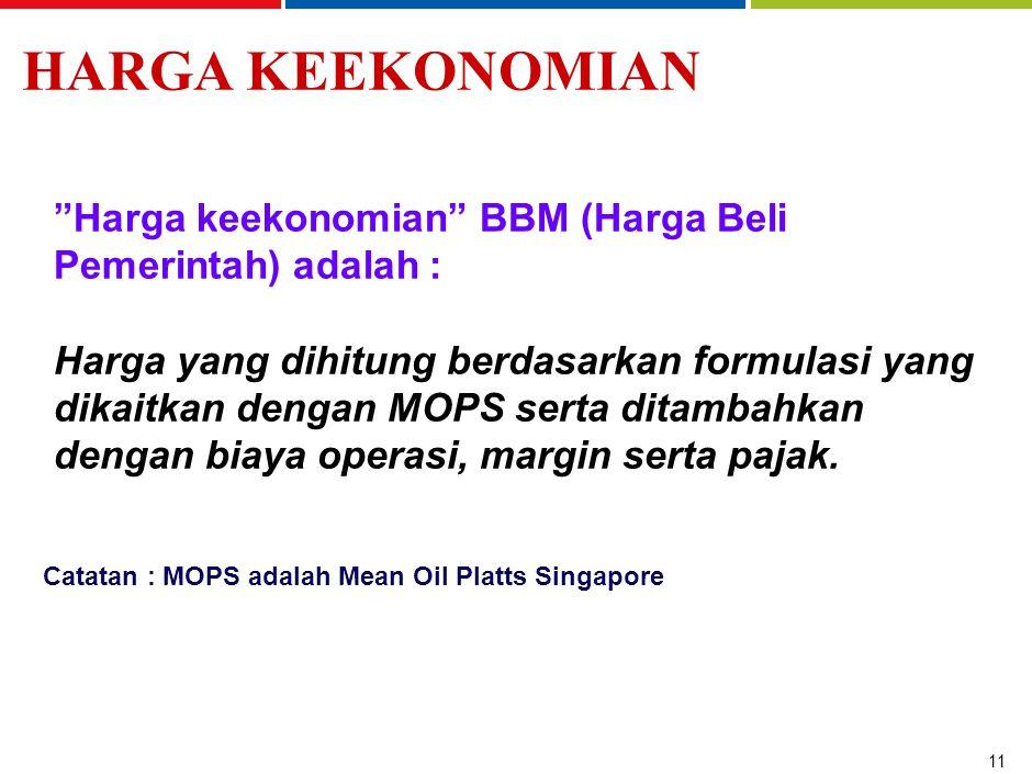 11 Harga keekonomian BBM (Harga Beli Pemerintah) adalah : Harga yang dihitung berdasarkan formulasi yang dikaitkan dengan MOPS serta ditambahkan dengan biaya operasi, margin serta pajak.