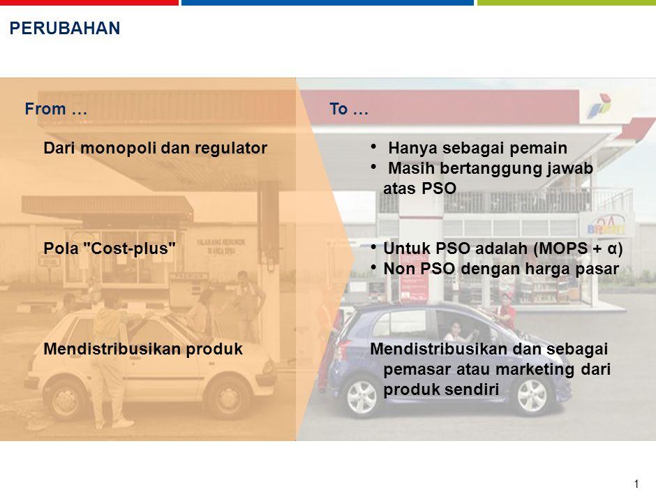 42 45 2 51 3 BensinSolar Pajak/subsidi yang diperhitungkan GST: 10% Excise duty: AUD 0.38143 Harga rata-rata Amerika Serikat Tax: 10 sen/ℓ MOPS + subsidi 14.1% Subsidi rata-rata 4 –Bensin: 28% –Solar: 25% GST: 5% Excise duty (untuk bensin): 44 SGD-sen/ℓ EVALUASI HARGA Harga Benchmark 1 Australia Indonesia Malaysia Singapore Sepadan dengan Alpha rata-rata sekitar ~30% 1 Harga eceran benchmark diperhitungkan dengan mengurangi pajak dari harga eceran di Amerika Serikat; pasar Amerika Serikat dapat dianggap sebagai tolok ukur yang baik karena sangat kompetitif dan mempunyai jaringan logistik yang sangat efisien termasuk jaringan pipa dan sungai 2 MOPS = USD 39 sen per liter 3 MOPS = USD 44.7 sen per liter 4 Berdasarkan informasi press release Sumber:International fuel prices, GTZ 2007 Rata-rata Pendapatan per Liter USD sen/liter – disesuaikan dengan efek pajak dan subsidi negara masing-masing, November 2006
