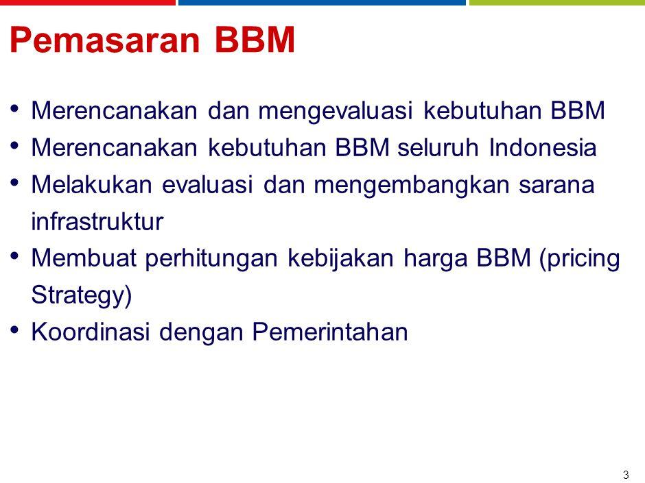 3 Pemasaran BBM Merencanakan dan mengevaluasi kebutuhan BBM Merencanakan kebutuhan BBM seluruh Indonesia Melakukan evaluasi dan mengembangkan sarana i