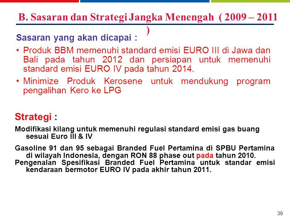 39 Strategi : Modifikasi kilang untuk memenuhi regulasi standard emisi gas buang sesuai Euro III & IV Gasoline 91 dan 95 sebagai Branded Fuel Pertamin