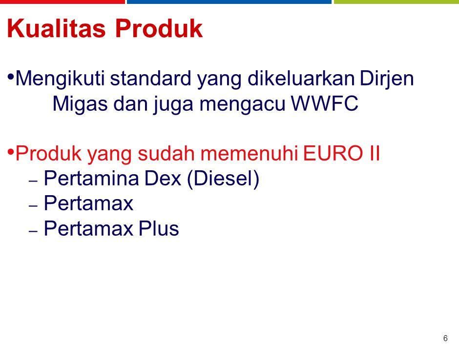 6 Kualitas Produk Mengikuti standard yang dikeluarkan Dirjen Migas dan juga mengacu WWFC Produk yang sudah memenuhi EURO II – Pertamina Dex (Diesel) – Pertamax – Pertamax Plus