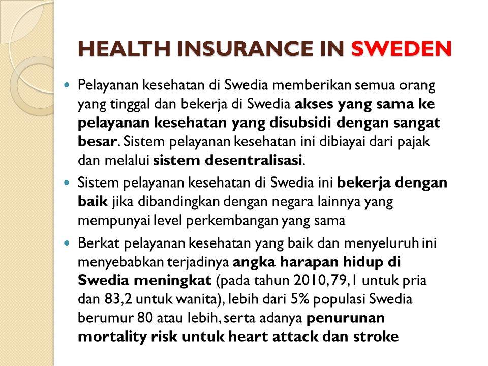 HEALTH INSURANCE IN SWEDEN Pelayanan kesehatan di Swedia memberikan semua orang yang tinggal dan bekerja di Swedia akses yang sama ke pelayanan kesehatan yang disubsidi dengan sangat besar.