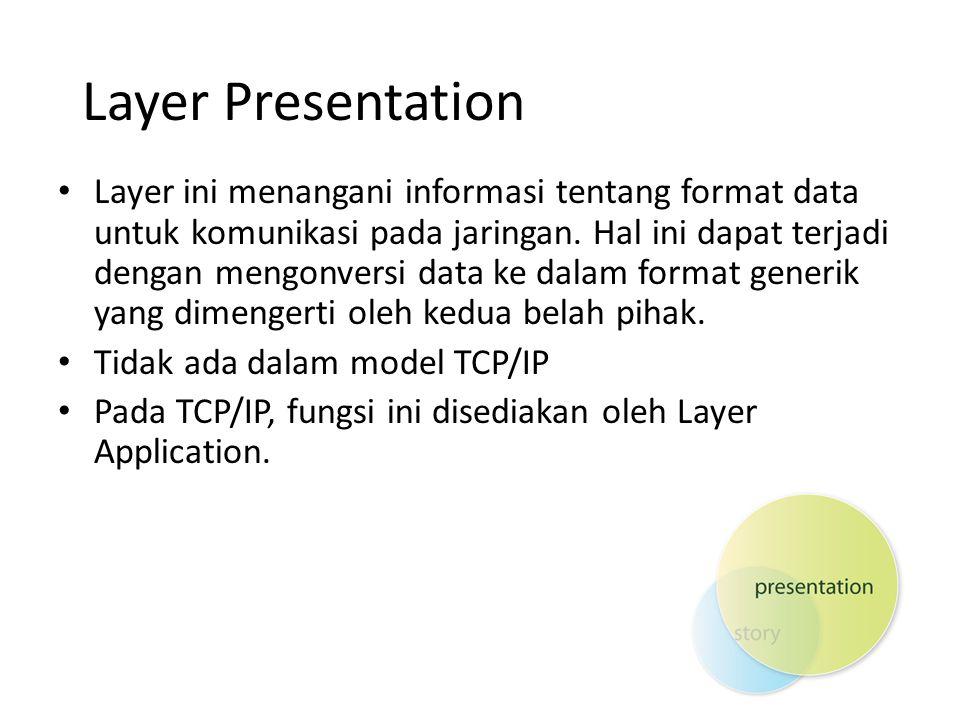 Layer Presentation Layer ini menangani informasi tentang format data untuk komunikasi pada jaringan. Hal ini dapat terjadi dengan mengonversi data ke
