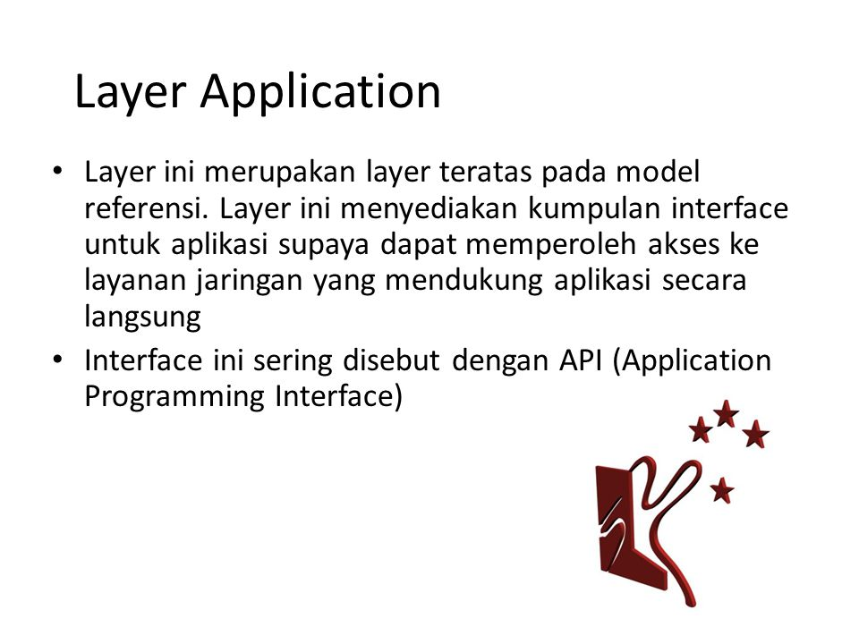 Layer Application Layer ini merupakan layer teratas pada model referensi.