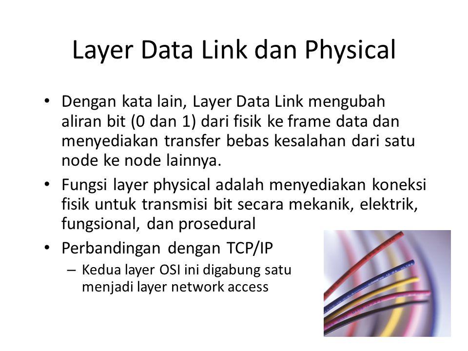 Dengan kata lain, Layer Data Link mengubah aliran bit (0 dan 1) dari fisik ke frame data dan menyediakan transfer bebas kesalahan dari satu node ke no