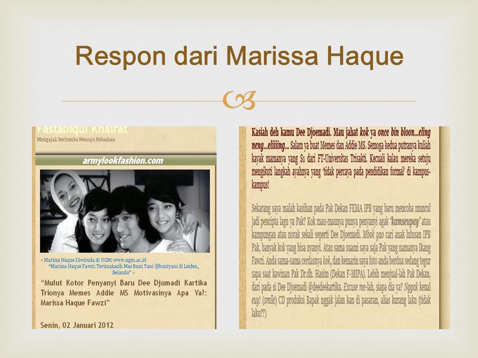  Respon dari Marissa Haque