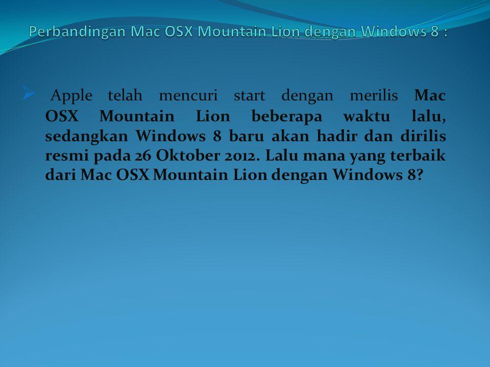  Apple telah mencuri start dengan merilis Mac OSX Mountain Lion beberapa waktu lalu, sedangkan Windows 8 baru akan hadir dan dirilis resmi pada 26 Oktober 2012.