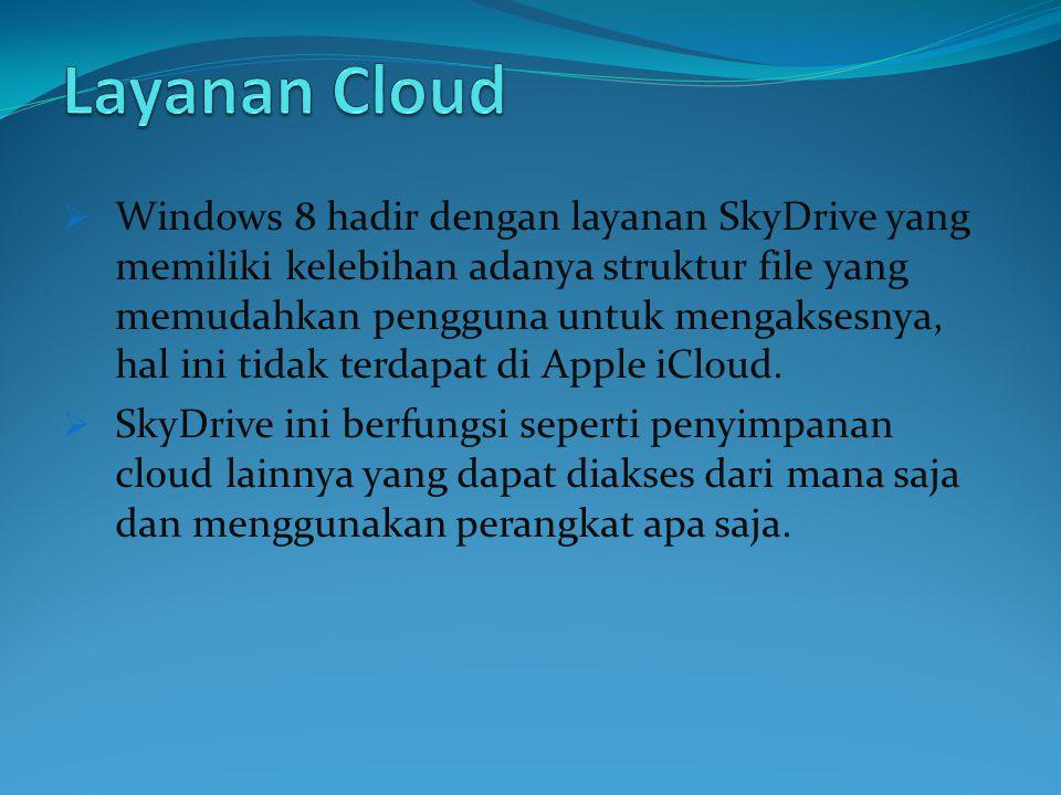  Windows 8 hadir dengan layanan SkyDrive yang memiliki kelebihan adanya struktur file yang memudahkan pengguna untuk mengaksesnya, hal ini tidak terdapat di Apple iCloud.