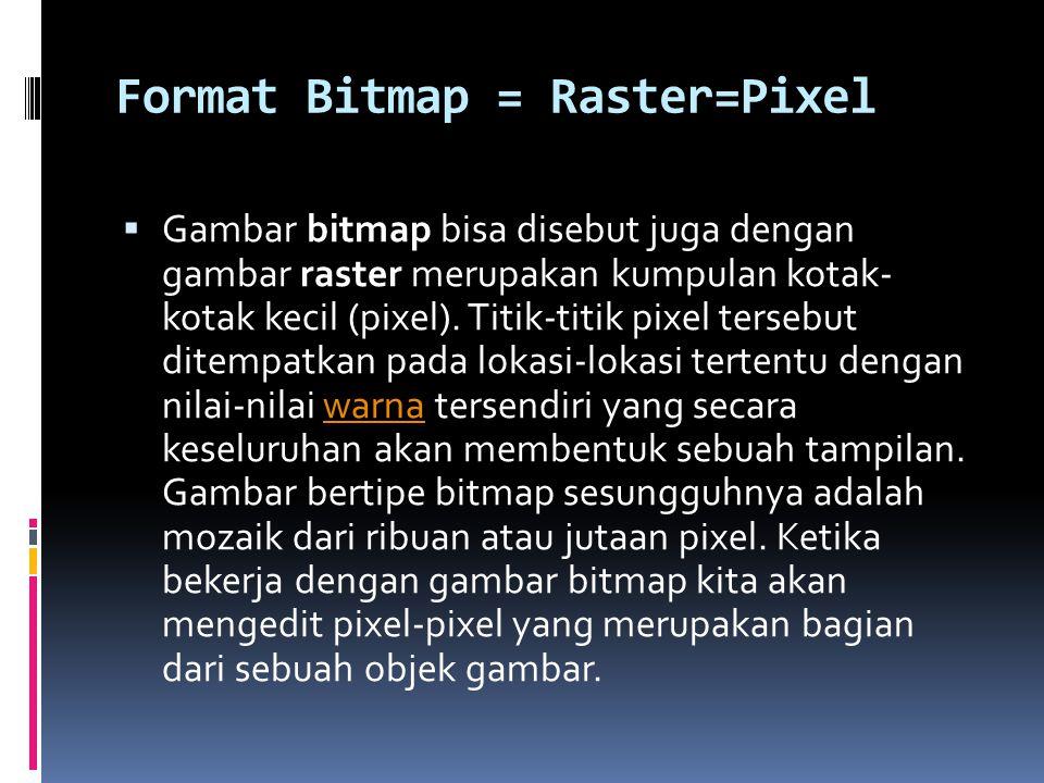 Format Bitmap = Raster=Pixel  Gambar bitmap bisa disebut juga dengan gambar raster merupakan kumpulan kotak- kotak kecil (pixel). Titik-titik pixel t