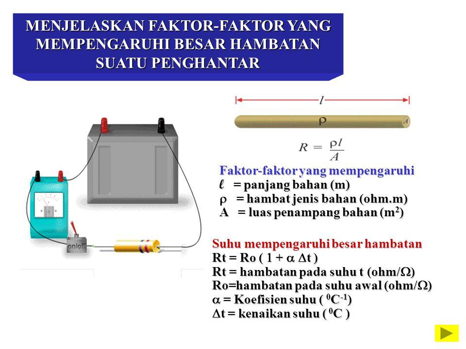 MENJELASKAN FAKTOR-FAKTOR YANG MEMPENGARUHI BESAR HAMBATAN SUATU PENGHANTAR Faktor-faktor yang mempengaruhi l = panjang bahan (m)   = hambat jenis b