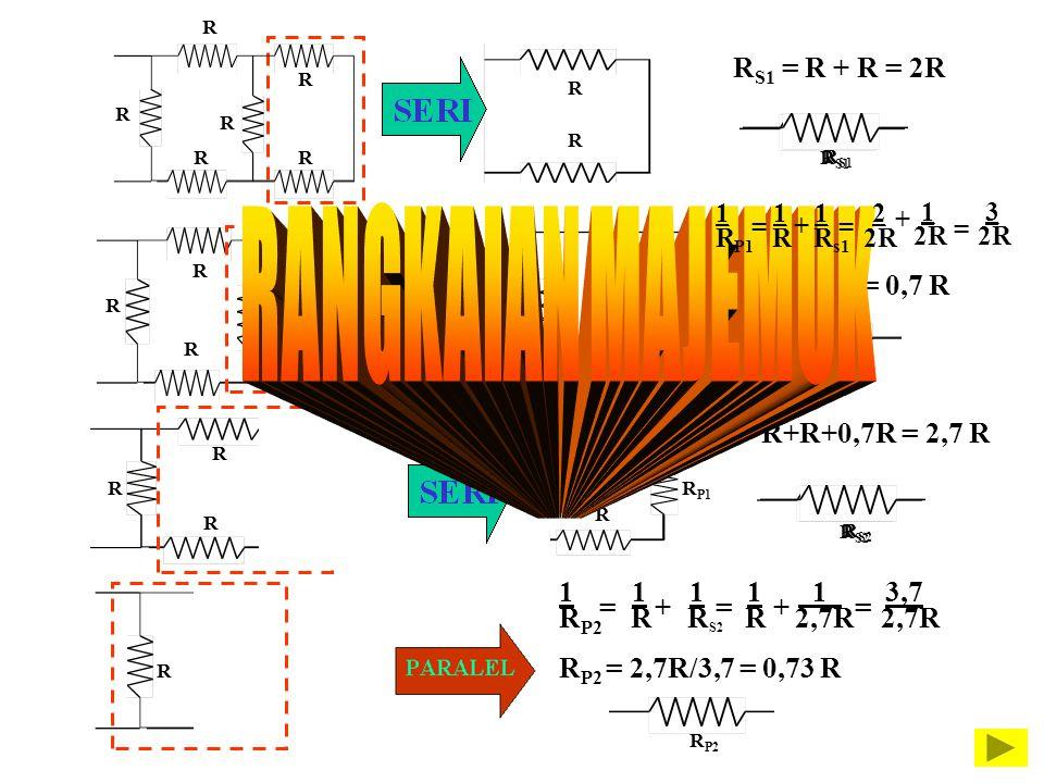 R R R R R R R R R S1 = R + R = 2R R S1 R R R R R R P1 R P1 =2/3R = 0,7 R R R R R P1 R R R S2 = R+R+0,7R = 2,7 R R S2 R 1 1 1 1 1. 3,7 R P2 R R S2 R 2,