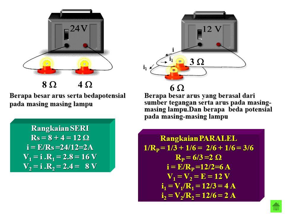 8  4  6  3  Berapa besar arus serta bedapotensial pada masing masing lampu Rangkaian SERI Rs = 8 + 4 = 12  i = E/Rs =24/12=2A V1 = i.R1 = 2.8 = 1