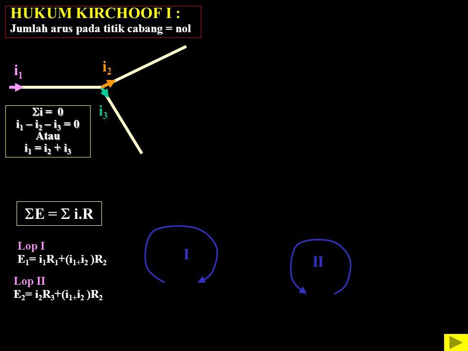 HUKUM KIRCHOOF I : Jumlah arus pada titik cabang = nol i1i1 i2i2 i3i3 i1i1 i2i2 i4i4 i3i3 i5i5  i = 0 i 1 – i 2 – i 3 = 0 Atau i 1 = i 2 + i 3  i =
