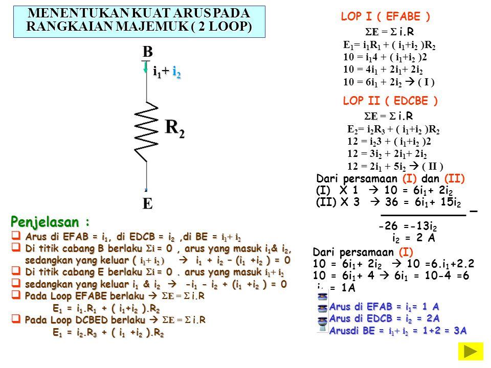 E  E =  i.R E 1 = i 1 R 1 + ( i 1 +i 2 )R 2 10 = i 1 4 + ( i 1 +i 2 )2 10 = 4i 1 + 2i 1 + 2i 2 10 = 6i 1 + 2i 2  ( I ) i1i1i1i1 i2i2i2i2 i1
