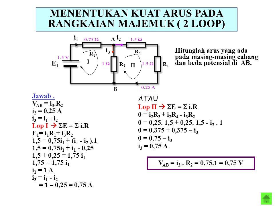 MENENTUKAN KUAT ARUS PADA RANGKAIAN MAJEMUK ( 2 LOOP) A B Hitunglah arus yang ada pada masing-masing cabang dan beda potensial di AB. Jawab. V AB = i