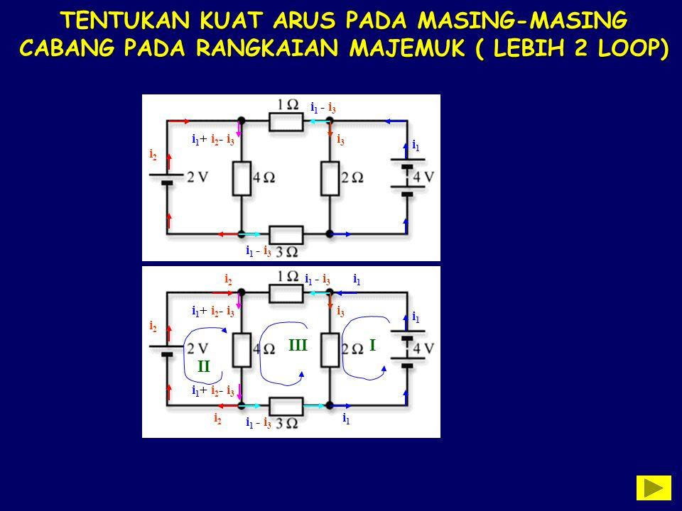TENTUKAN KUAT ARUS PADA MASING-MASING CABANG PADA RANGKAIAN MAJEMUK ( LEBIH 2 LOOP) i1i1 i3i3 i 1 - i 3 i2i2 i 1 + i 2 - i 3 i 1 - i 3 i1i1 i3i3 i2i2