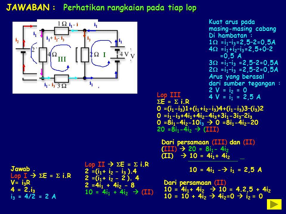 JAWABAN : Perhatikan rangkaian pada tiap lop i1i1 i3i3 i 1 - i 3 i2i2 i 1 + i 2 - i 3 i 1 - i 3 i2i2 i2i2 i 1 + i 2 - i 3 i1i1 i1i1 I II III Jawab. Lo