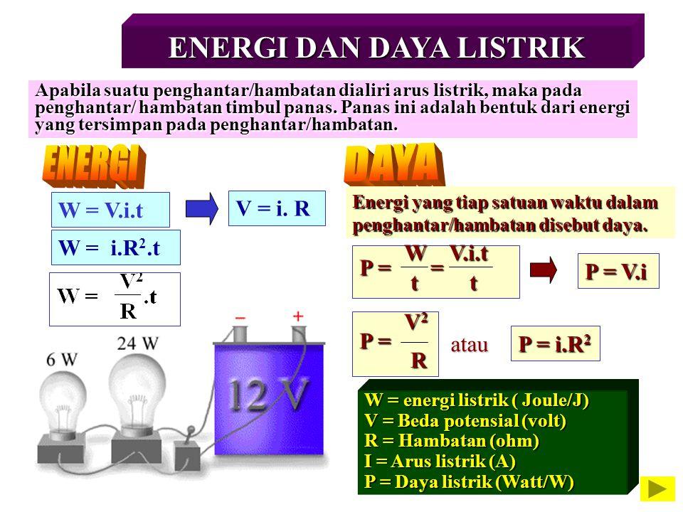 ENERGI DAN DAYA LISTRIK Apabila suatu penghantar/hambatan dialiri arus listrik, maka pada penghantar/ hambatan timbul panas. Panas ini adalah bentuk d