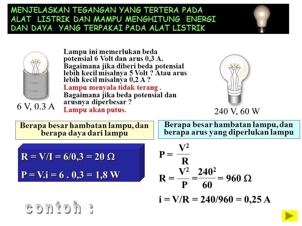 MENJELASKAN TEGANGAN YANG TERTERA PADA ALAT LISTRIK DAN MAMPU MENGHITUNG ENERGI DAN DAYA YANG TERPAKAI PADA ALAT LISTRIK Berapa besar hambatan lampu,