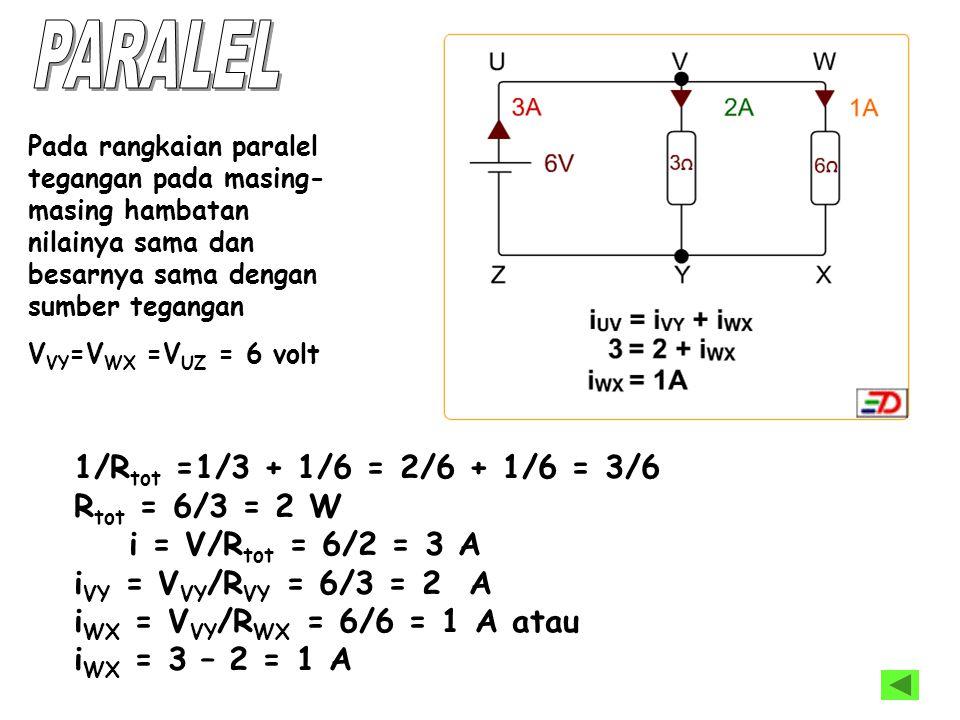 1/R tot =1/3 + 1/6 = 2/6 + 1/6 = 3/6 R tot = 6/3 = 2 W i = V/R tot = 6/2 = 3 A i VY = V VY /R VY = 6/3 = 2 A i WX = V VY /R WX = 6/6 = 1 A atau i WX =