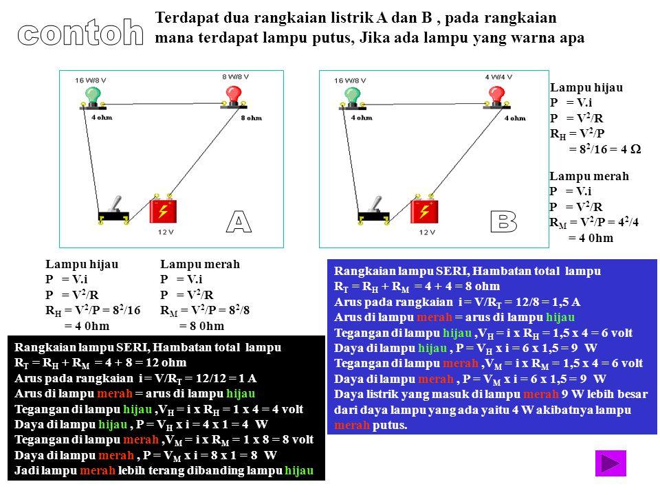 Lampu hijau P = V.i P = V 2 /R R H = V 2 /P = 8 2 /16 = 4 0hm Lampu merah P = V.i P = V 2 /R R M = V 2 /P = 8 2 /8 = 8 0hm Rangkaian lampu SERI, Hamba