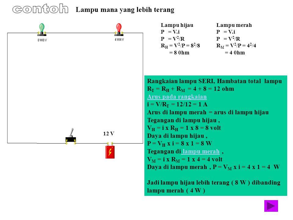 Lampu hijau P = V.i P = V 2 /R R H = V 2 /P = 8 2 /8 = 8 0hm Lampu merah P = V.i P = V 2 /R R M = V 2 /P = 4 2 /4 = 4 0hm Rangkaian lampu SERI, Hambat