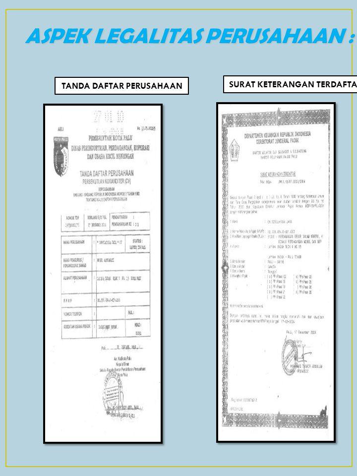 ASPEK LEGALITAS PERUSAHAAN : TANDA DAFTAR PERUSAHAAN SURAT KETERANGAN TERDAFTAR