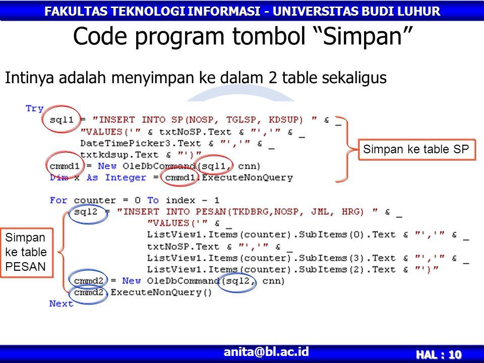 """FAKULTAS TEKNOLOGI INFORMASI - UNIVERSITAS BUDI LUHUR HAL : 10 anita@bl.ac.id Code program tombol """"Simpan"""" Simpan ke table SP Simpan ke table PESAN In"""