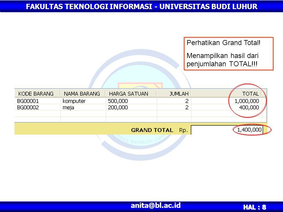 FAKULTAS TEKNOLOGI INFORMASI - UNIVERSITAS BUDI LUHUR HAL : 8 anita@bl.ac.id Perhatikan Grand Total! Menampilkan hasil dari penjumlahan TOTAL!!!