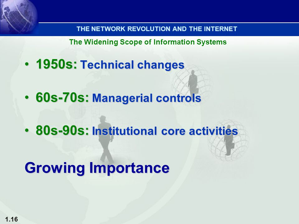 1.16 1950s: Technical changes1950s: Technical changes 60s-70s: Managerial controls60s-70s: Managerial controls 80s-90s: Institutional core activities8
