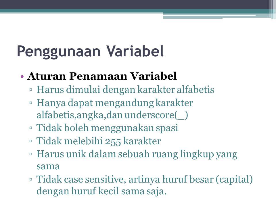 Penggunaan Variabel Aturan Penamaan Variabel ▫Harus dimulai dengan karakter alfabetis ▫Hanya dapat mengandung karakter alfabetis,angka,dan underscore(