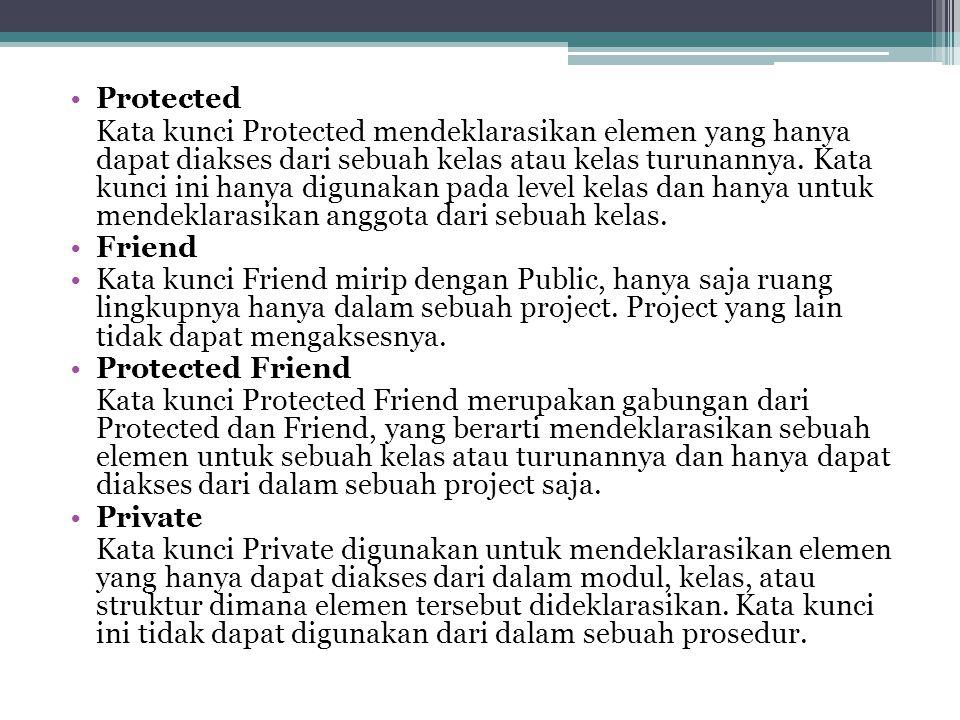 Protected Kata kunci Protected mendeklarasikan elemen yang hanya dapat diakses dari sebuah kelas atau kelas turunannya. Kata kunci ini hanya digunakan