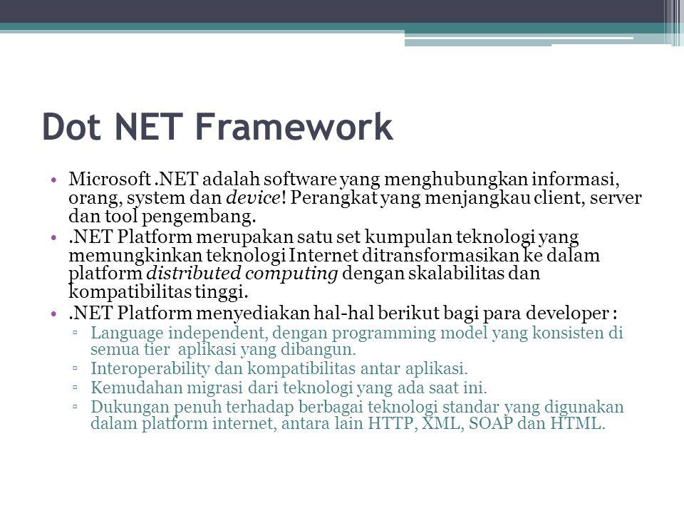 Dot NET Framework Teknologi inti.NET secara umum terdiri dari 4 area pokok : 1).NET Framework 2).NET Building Block Services 3) Visual Studio.NET 4).Net Enterprise Server
