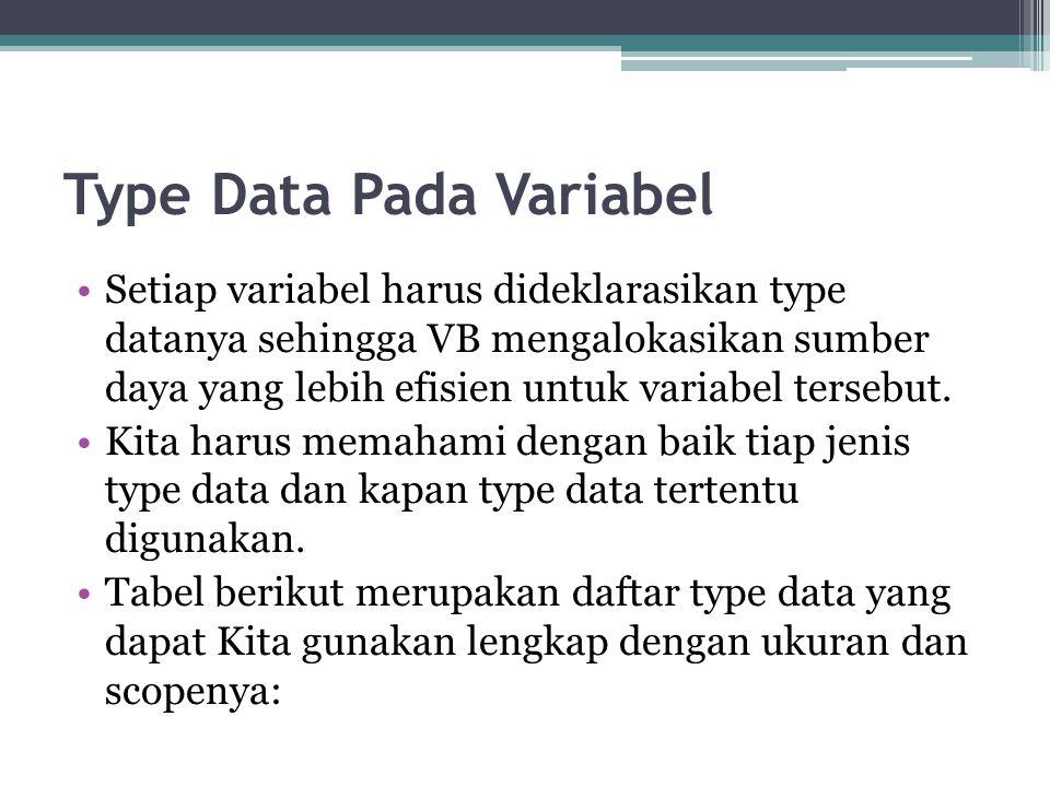 Type Data Pada Variabel Setiap variabel harus dideklarasikan type datanya sehingga VB mengalokasikan sumber daya yang lebih efisien untuk variabel ter