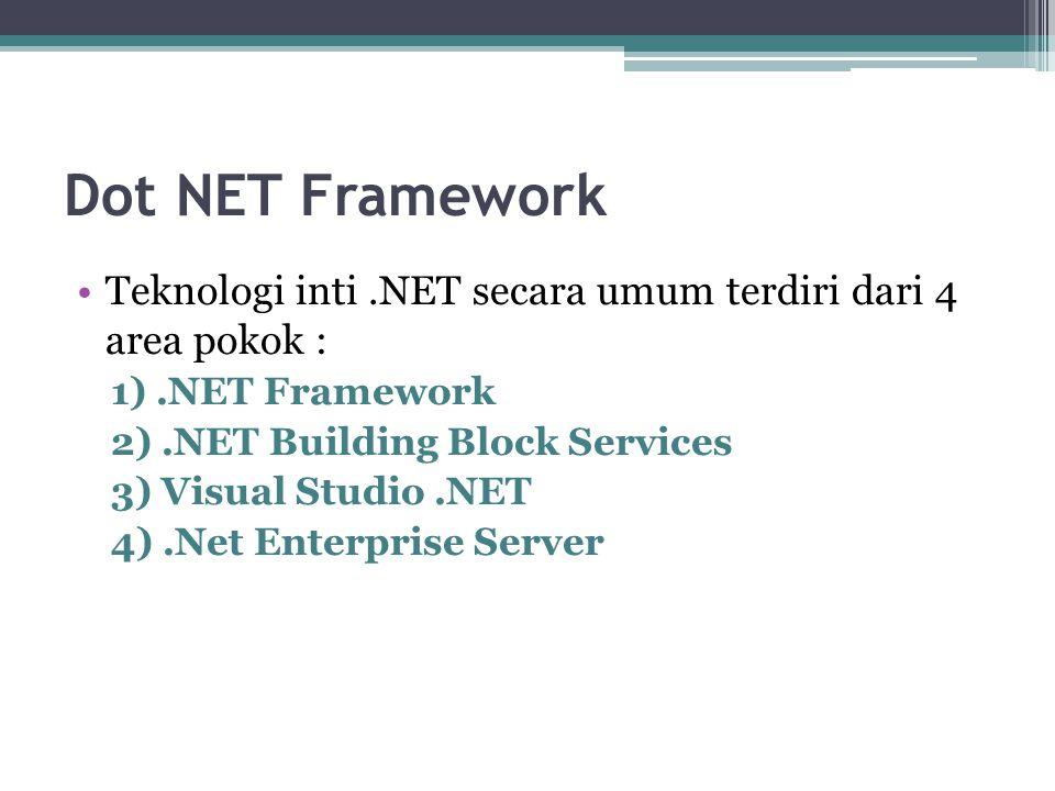 Dot NET Framework Teknologi inti.NET secara umum terdiri dari 4 area pokok : 1).NET Framework 2).NET Building Block Services 3) Visual Studio.NET 4).N