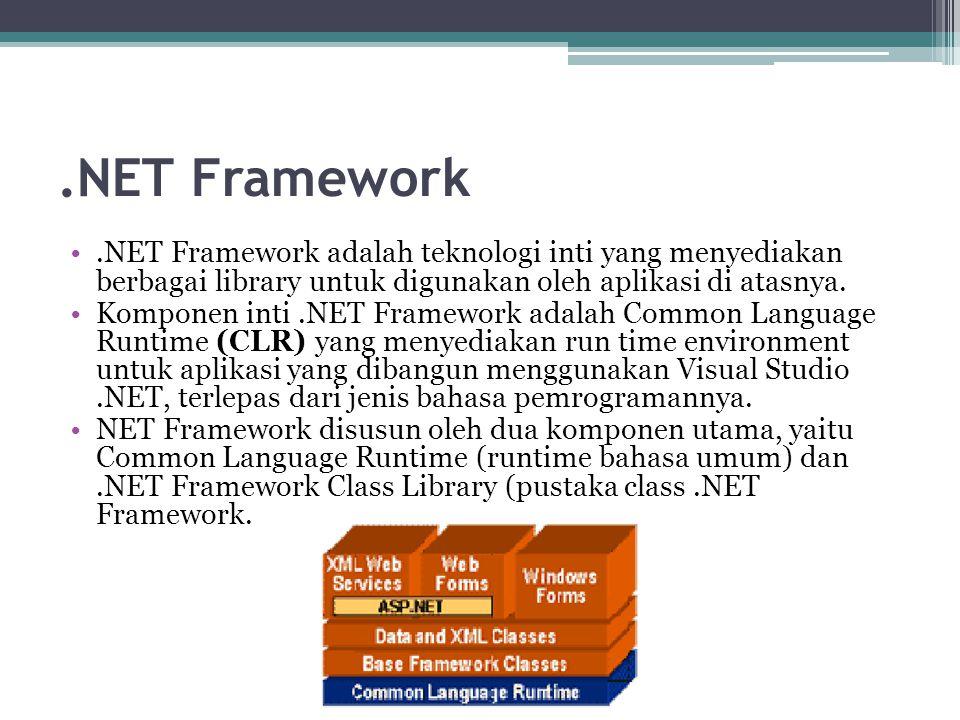 .NET Framework.NET Framework adalah teknologi inti yang menyediakan berbagai library untuk digunakan oleh aplikasi di atasnya. Komponen inti.NET Frame