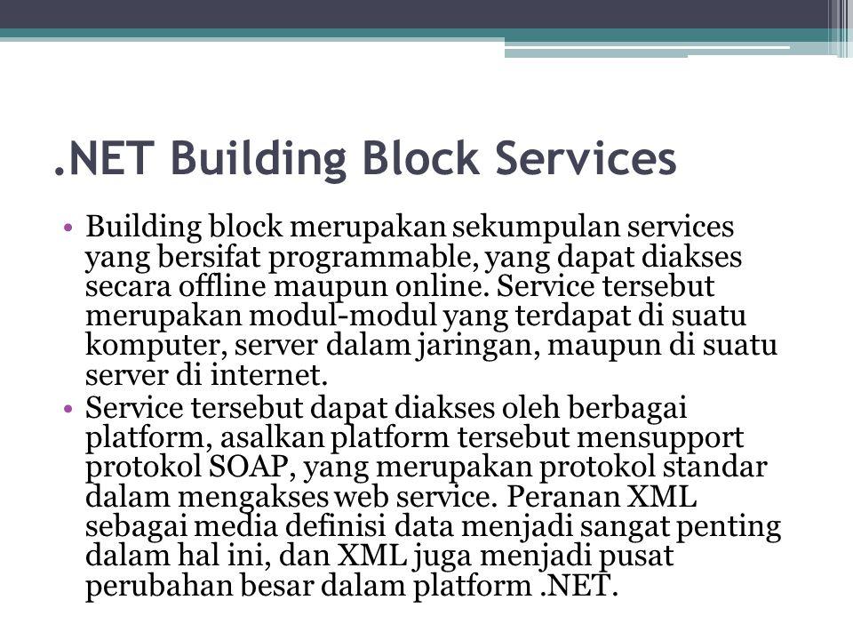 .NET Building Block Services Building block merupakan sekumpulan services yang bersifat programmable, yang dapat diakses secara offline maupun online.