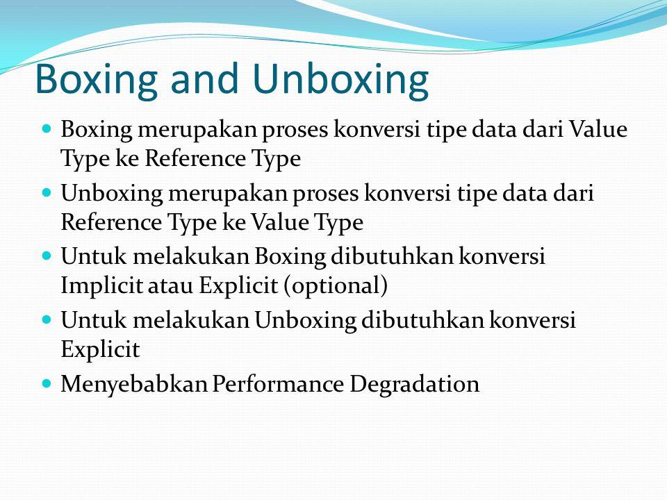 Boxing merupakan proses konversi tipe data dari Value Type ke Reference Type Unboxing merupakan proses konversi tipe data dari Reference Type ke Value Type Untuk melakukan Boxing dibutuhkan konversi Implicit atau Explicit (optional) Untuk melakukan Unboxing dibutuhkan konversi Explicit Menyebabkan Performance Degradation