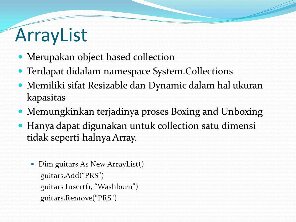 ArrayList Merupakan object based collection Terdapat didalam namespace System.Collections Memiliki sifat Resizable dan Dynamic dalam hal ukuran kapasi