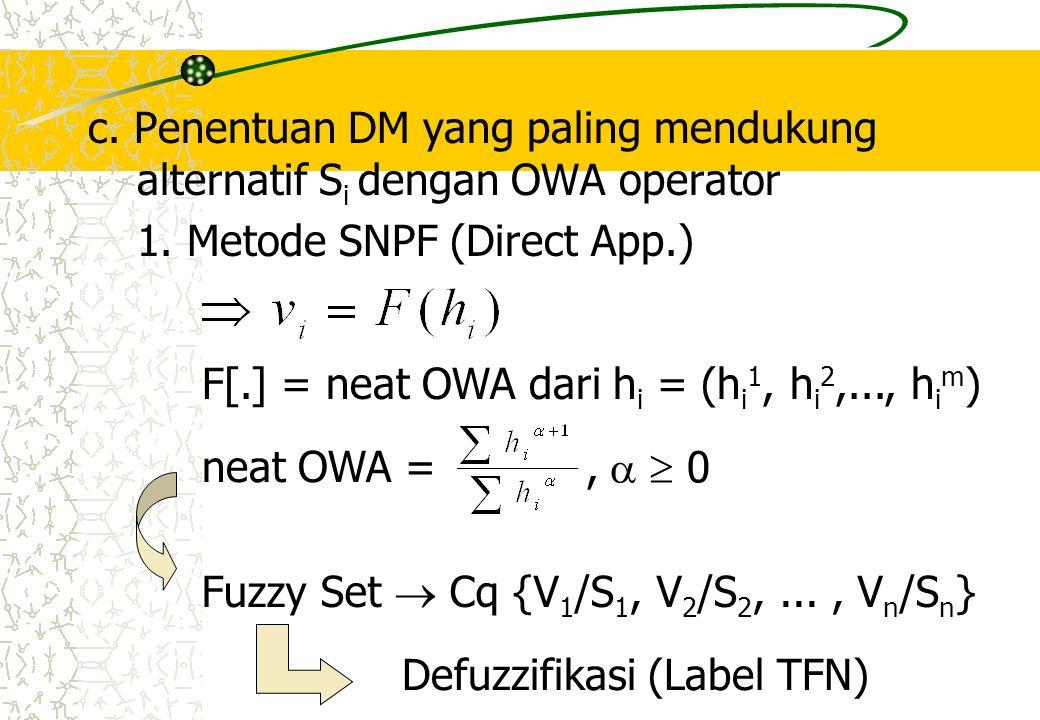 c. Penentuan DM yang paling mendukung alternatif S i dengan OWA operator 1. Metode SNPF (Direct App.) Fuzzy Set  Cq {V 1 /S 1, V 2 /S 2,..., V n /S n