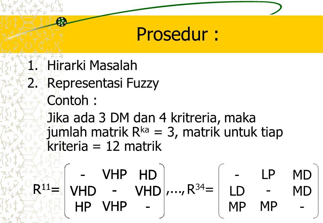 Prosedur : 1.Hirarki Masalah 2.Representasi Fuzzy Contoh : Jika ada 3 DM dan 4 kritreria, maka jumlah matrik R ka = 3, matrik untuk tiap kriteria = 12