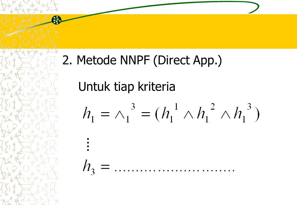 2. Metode NNPF (Direct App.) Untuk tiap kriteria....
