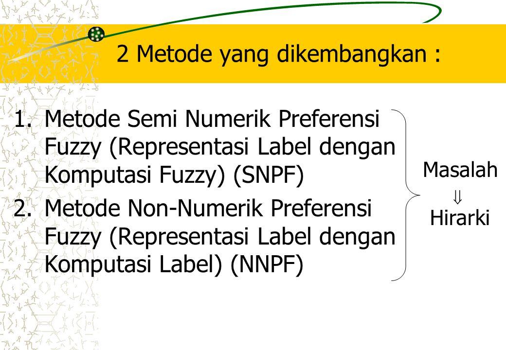 2 Metode yang dikembangkan : 1.Metode Semi Numerik Preferensi Fuzzy (Representasi Label dengan Komputasi Fuzzy) (SNPF) 2.Metode Non-Numerik Preferensi