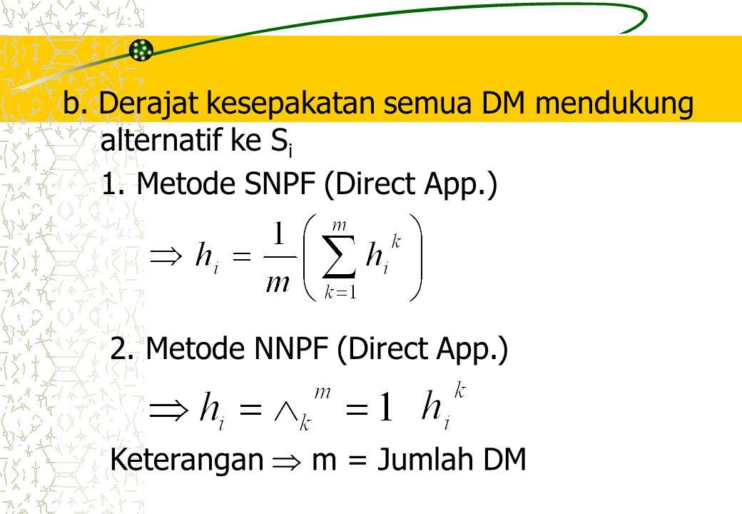 b. Derajat kesepakatan semua DM mendukung alternatif ke S i 1. Metode SNPF (Direct App.) 2. Metode NNPF (Direct App.) Keterangan  m = Jumlah DM