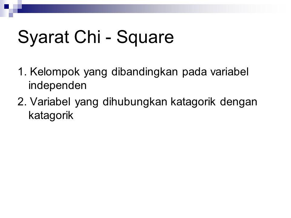 Syarat Chi - Square 1. Kelompok yang dibandingkan pada variabel independen 2. Variabel yang dihubungkan katagorik dengan katagorik