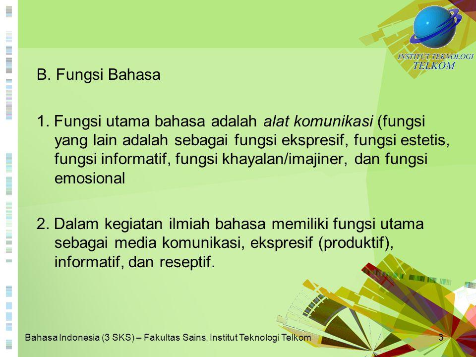 Bahasa Indonesia (3 SKS) – Fakultas Sains, Institut Teknologi Telkom14 Contoh kontaminasi imbuhan: (meng+kesamping+kan)→mengesampingkan (benar) (men+samping+kan) →menyampingkan (benar) ↓ mengenyampingkan (kontaminasi)
