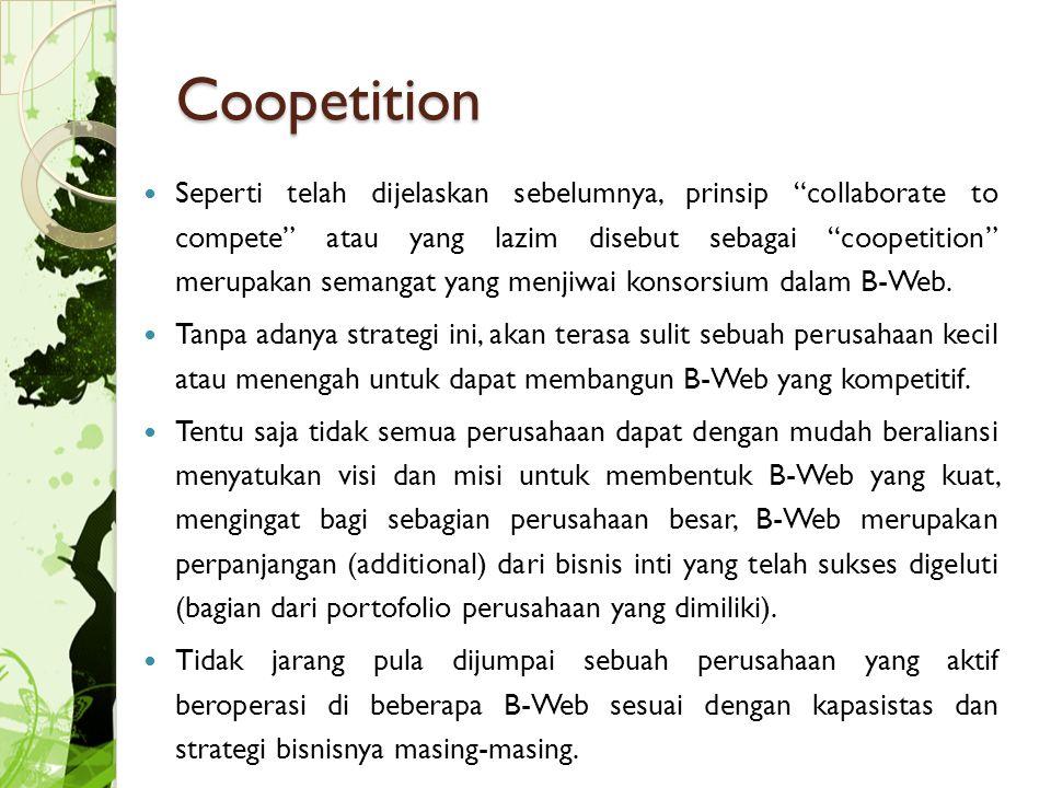 Coopetition Seperti telah dijelaskan sebelumnya, prinsip collaborate to compete atau yang lazim disebut sebagai coopetition merupakan semangat yang menjiwai konsorsium dalam B-Web.